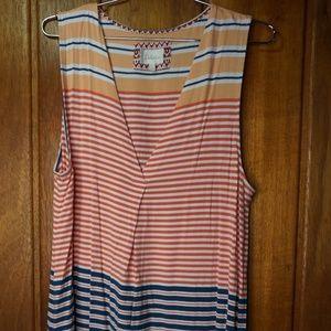 DELETTA Women's Stripe V-Neck Sleeveless Summer